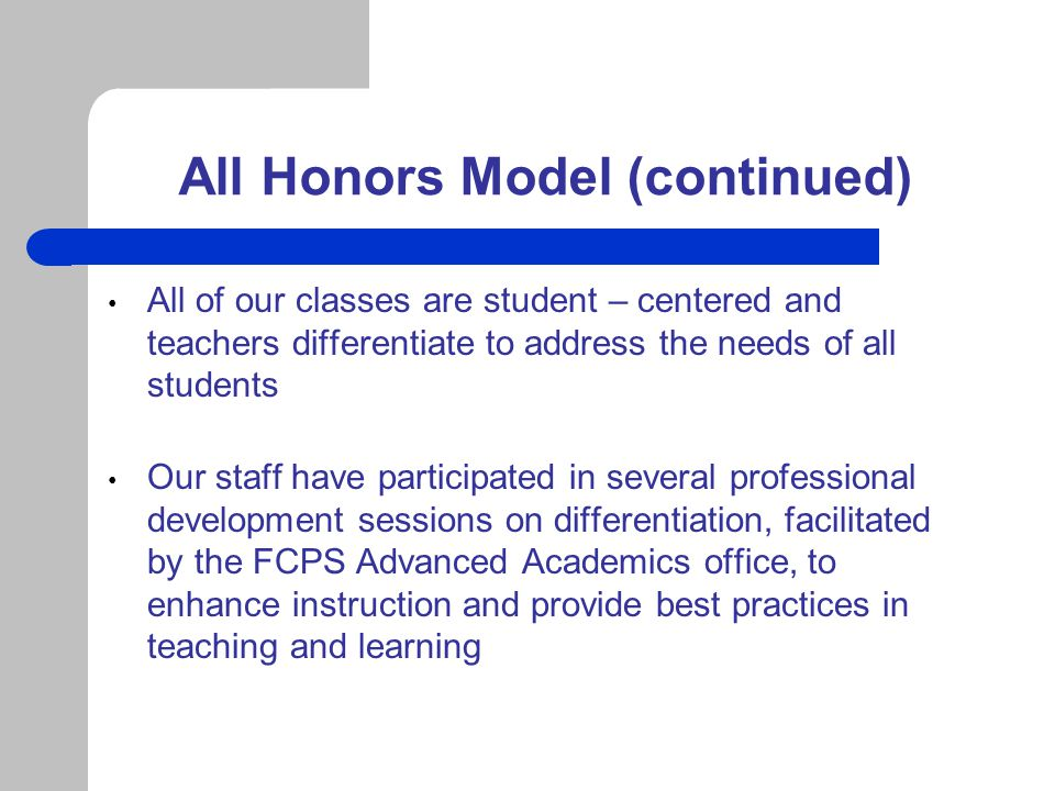 All Honors Model (continued)
