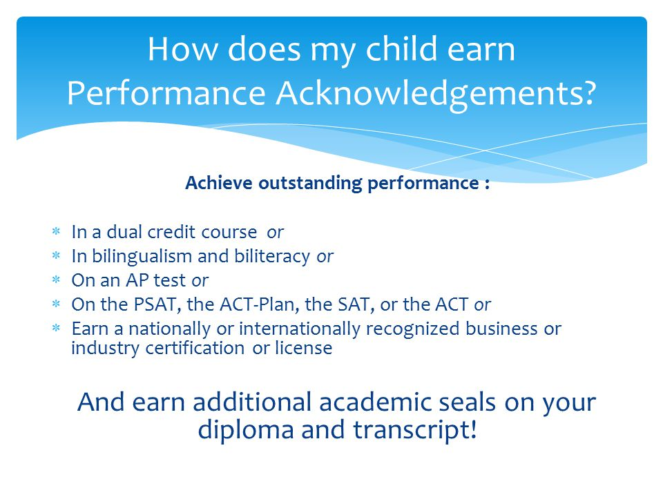 How does my child earn Performance Acknowledgements
