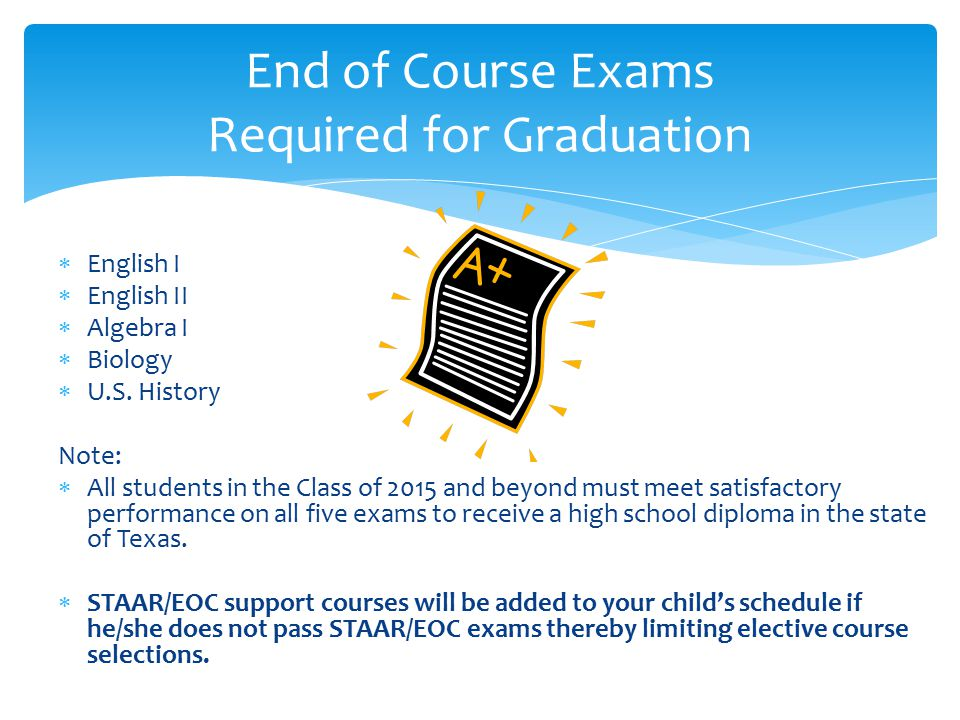 End of Course Exams Required for Graduation