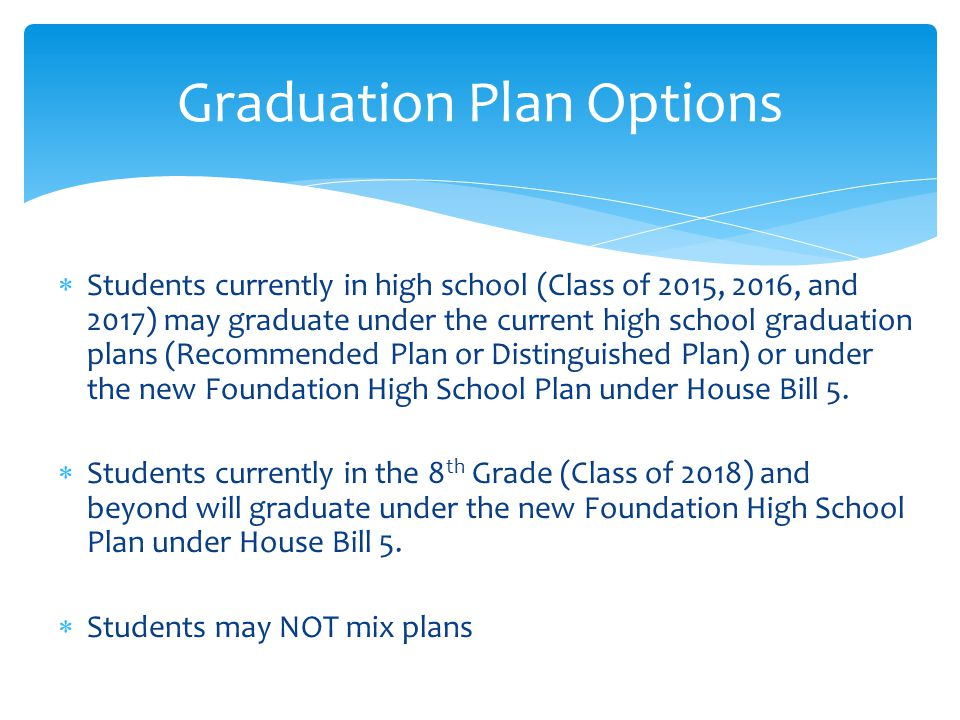 Graduation Plan Options