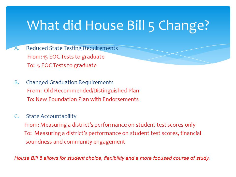 What did House Bill 5 Change
