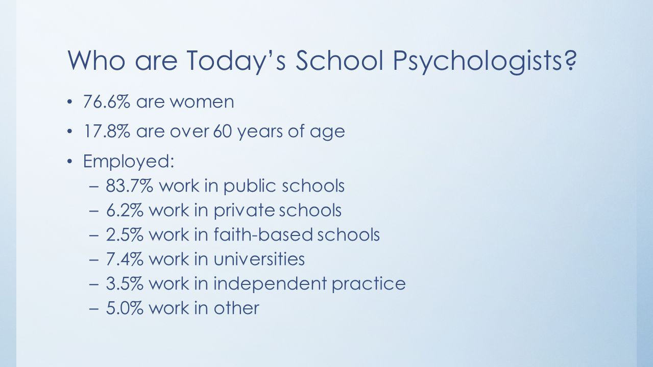 Who are Today's School Psychologists