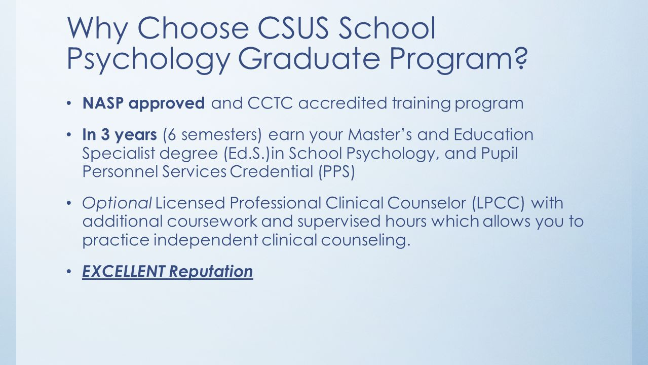 Why Choose CSUS School Psychology Graduate Program