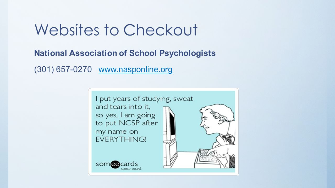 Websites to Checkout National Association of School Psychologists