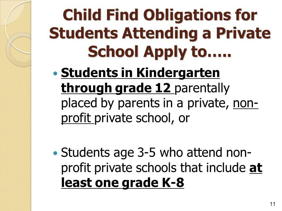 Child Find Obligations for Students Attending a Private School Apply to…..