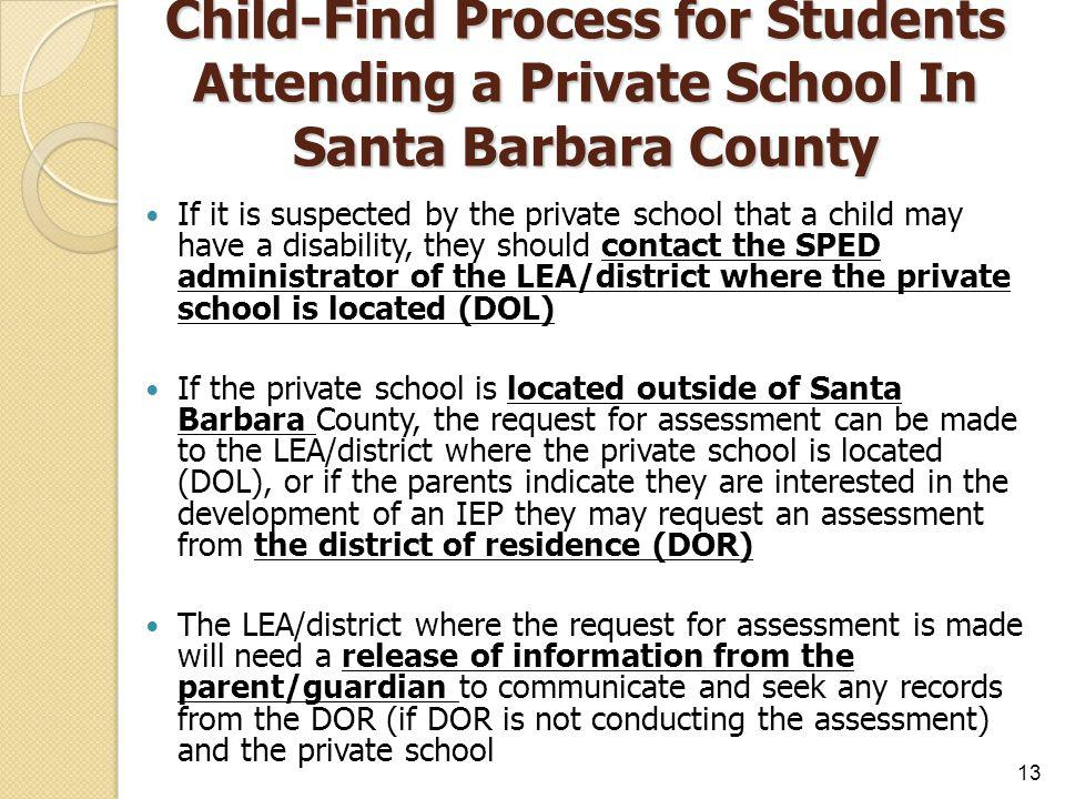 Child-Find Process for Students Attending a Private School In Santa Barbara County