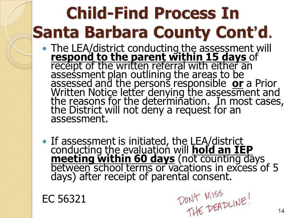 Child-Find Process In Santa Barbara County Cont'd.