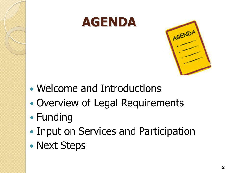 AGENDA Welcome and Introductions Overview of Legal Requirements