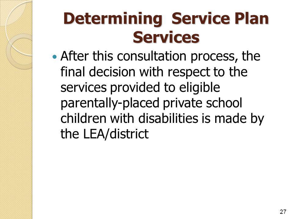 Determining Service Plan Services