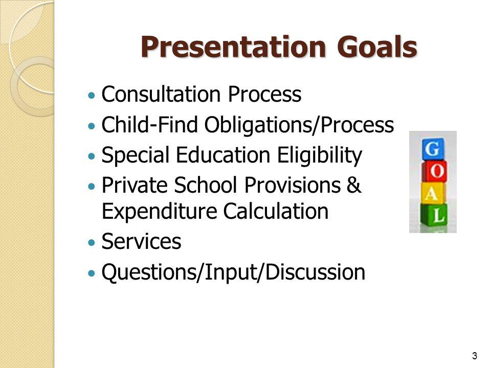 Presentation Goals Consultation Process Child-Find Obligations/Process