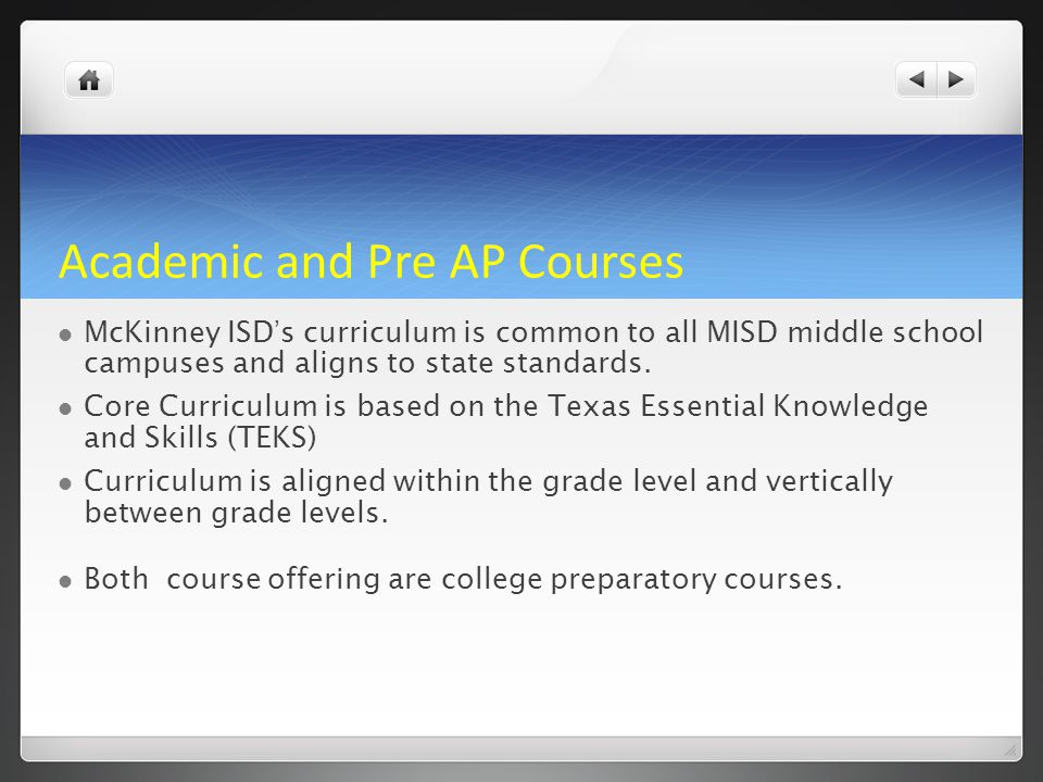 Academic and Pre AP Courses