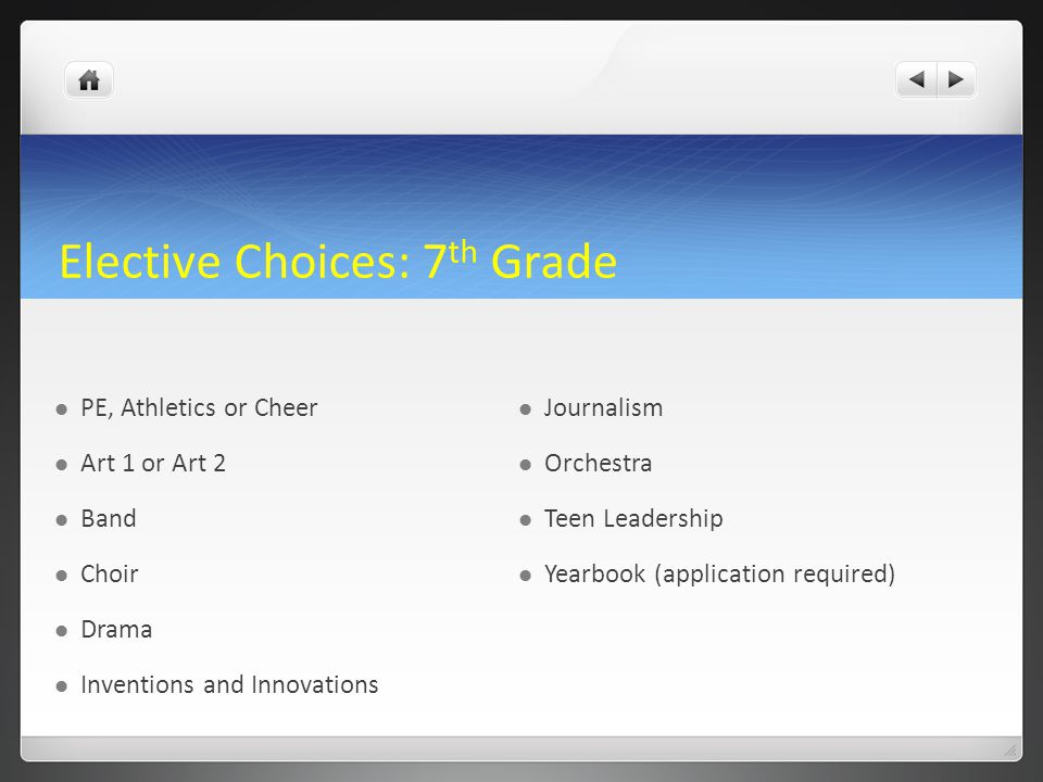 Elective Choices: 7th Grade