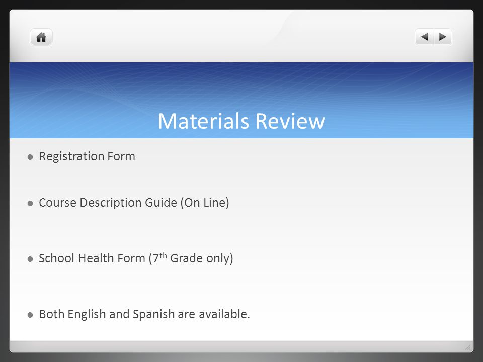 Materials Review Registration Form Course Description Guide (On Line)