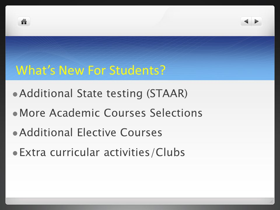 What's New For Students