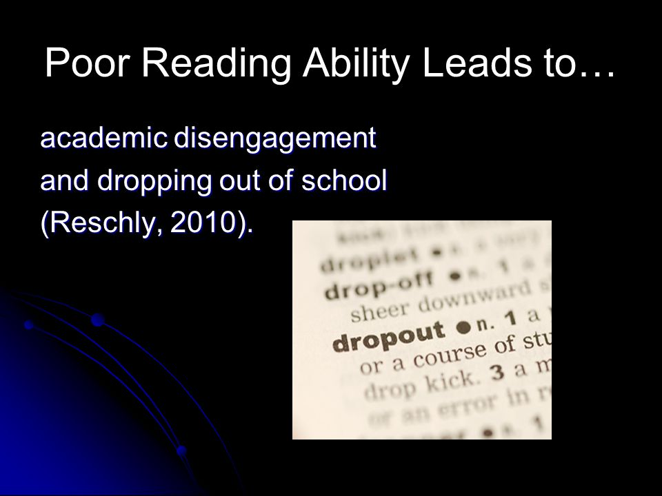 Poor Reading Ability Leads to…