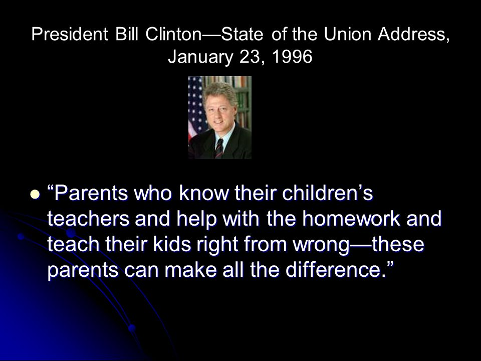 President Bill Clinton—State of the Union Address, January 23, 1996