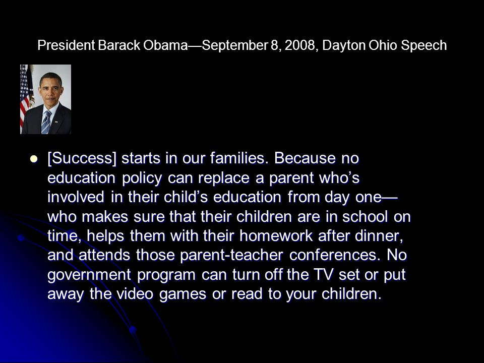 President Barack Obama—September 8, 2008, Dayton Ohio Speech