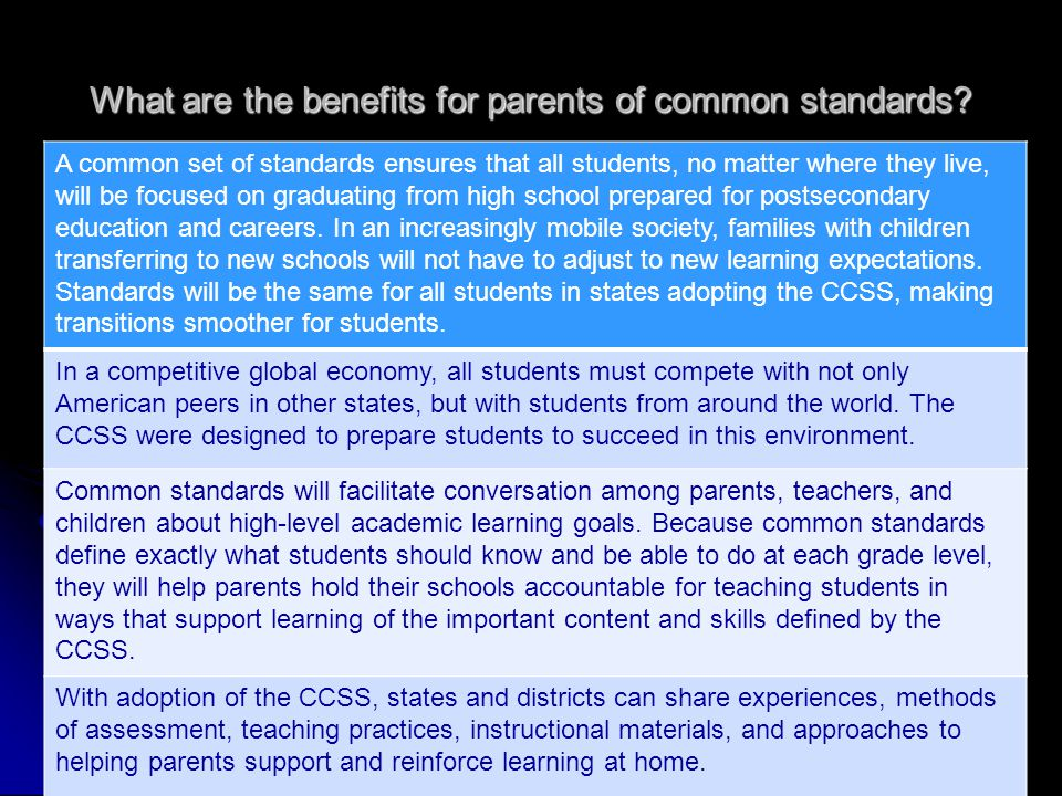 What are the benefits for parents of common standards