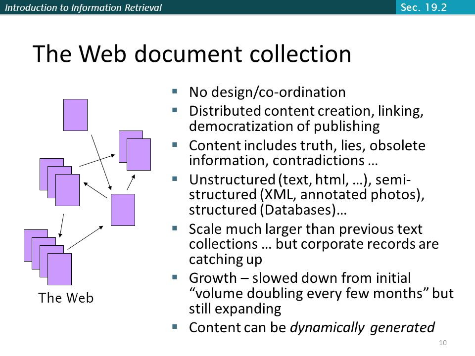 The Web document collection