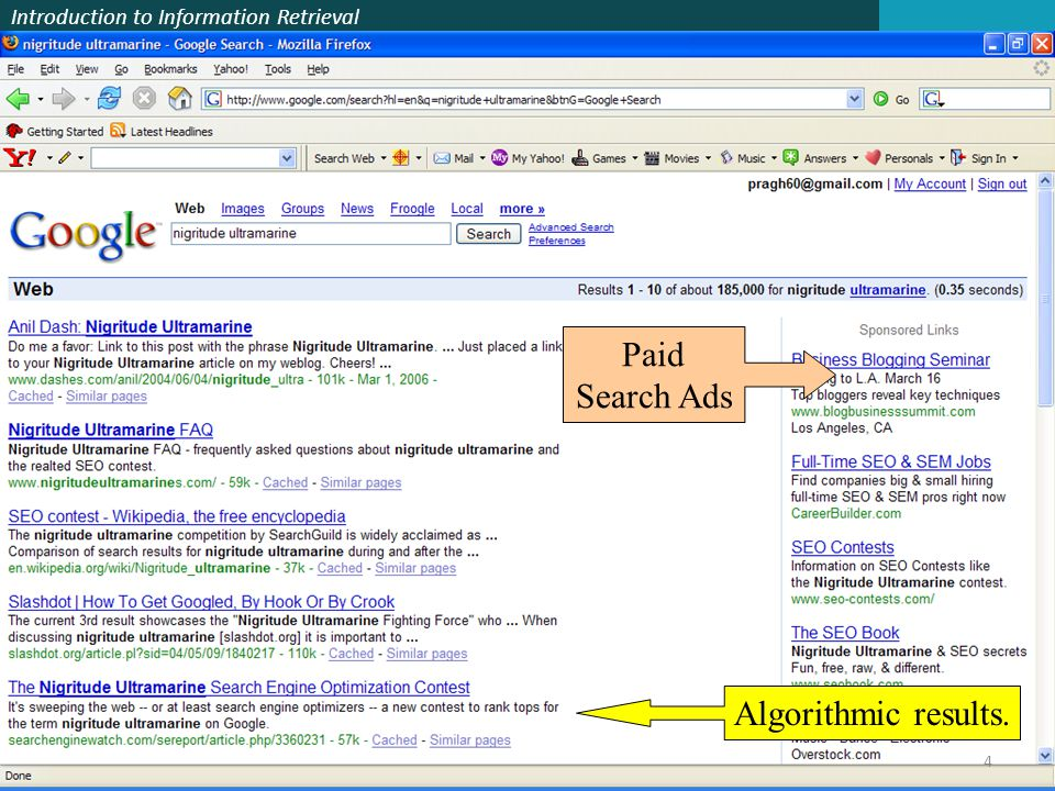 Paid Search Ads Algorithmic results.