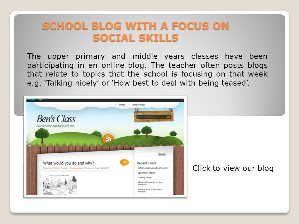 SCHOOL BLOG WITH A FOCUS ON SOCIAL SKILLS