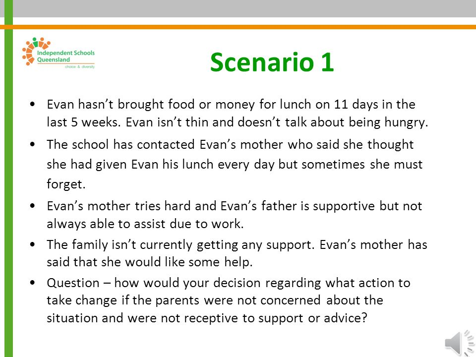 Scenario 1 Evan hasn't brought food or money for lunch on 11 days in the last 5 weeks. Evan isn't thin and doesn't talk about being hungry.