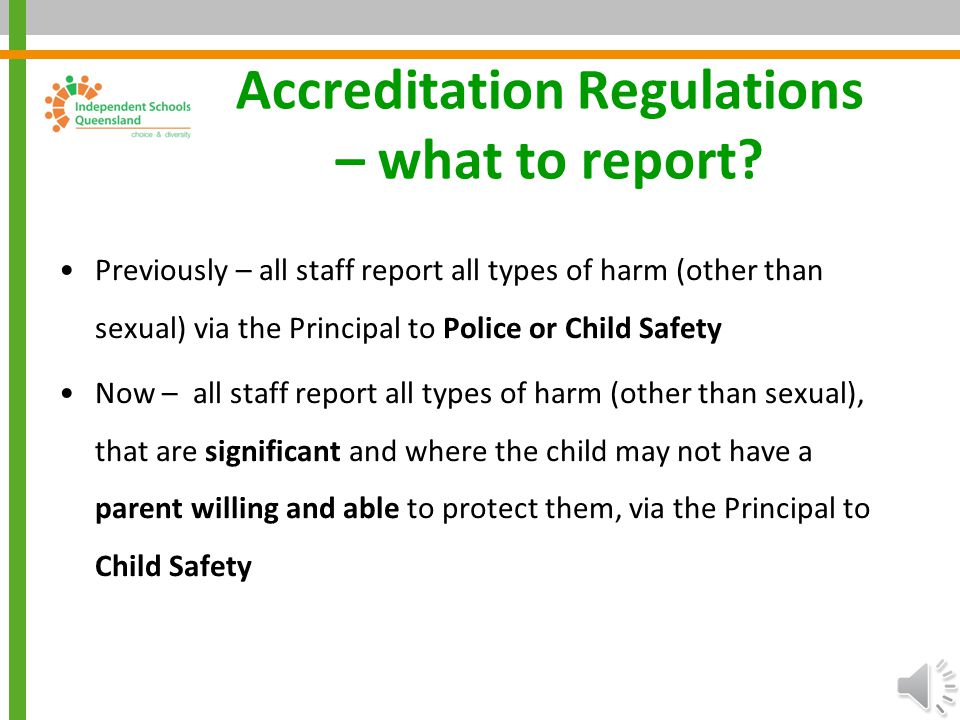 Accreditation Regulations – what to report
