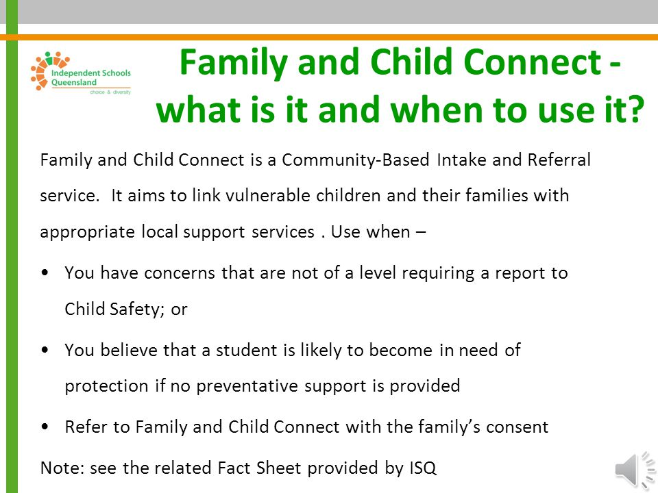 Family and Child Connect - what is it and when to use it