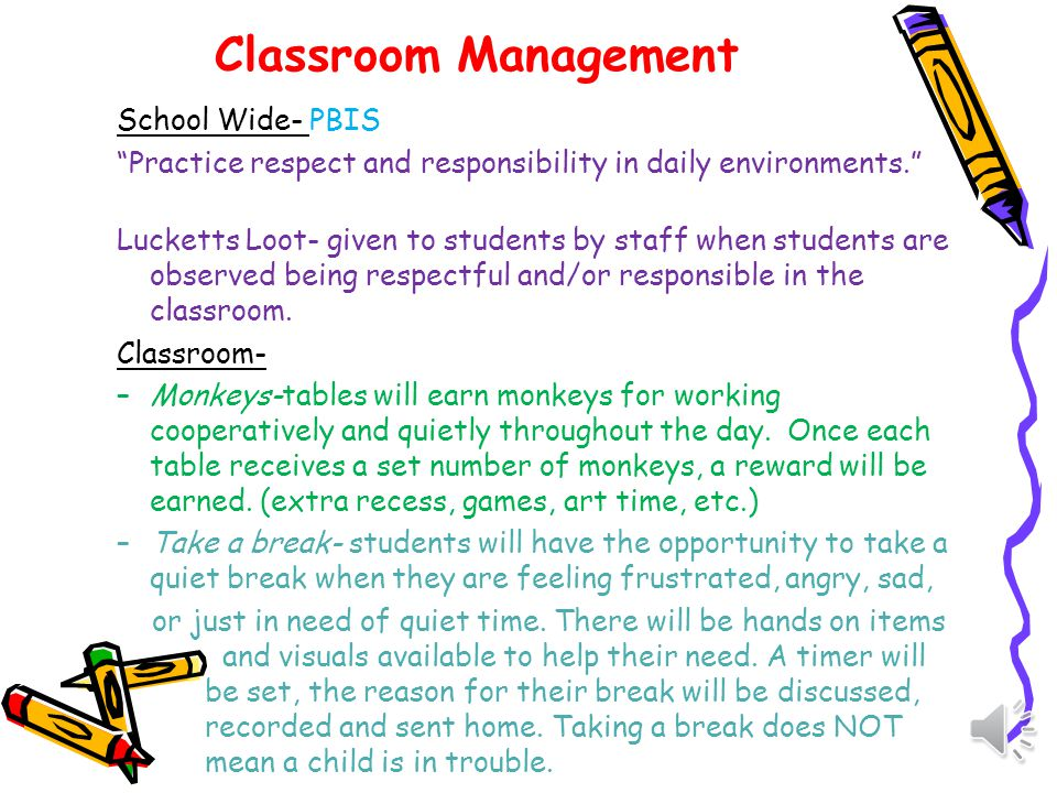 Classroom Management School Wide- PBIS