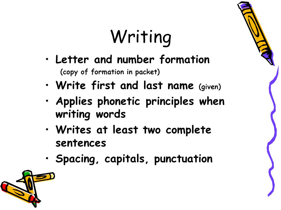 Writing Letter and number formation Write first and last name (given)