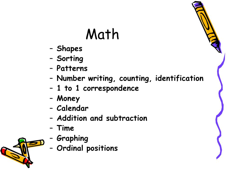 Math Shapes Sorting Patterns Number writing, counting, identification