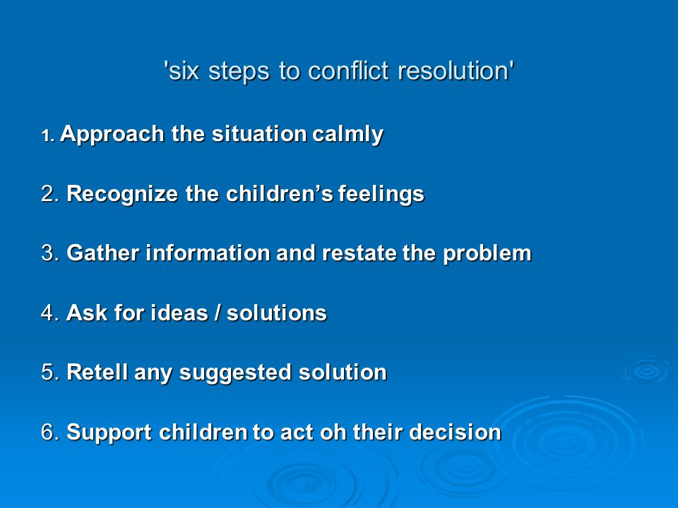 six steps to conflict resolution