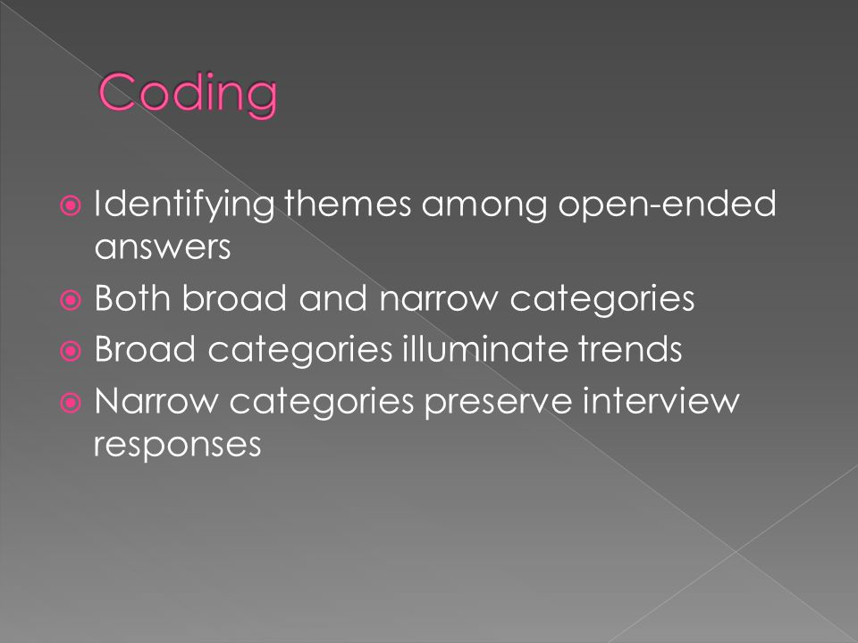 Coding Identifying themes among open-ended answers