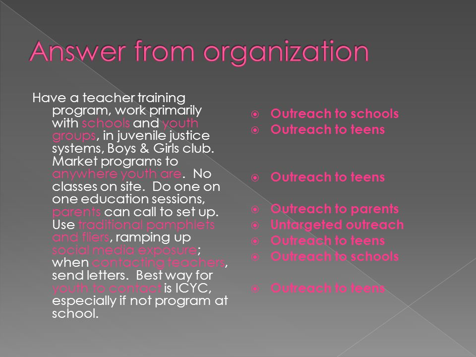 Answer from organization
