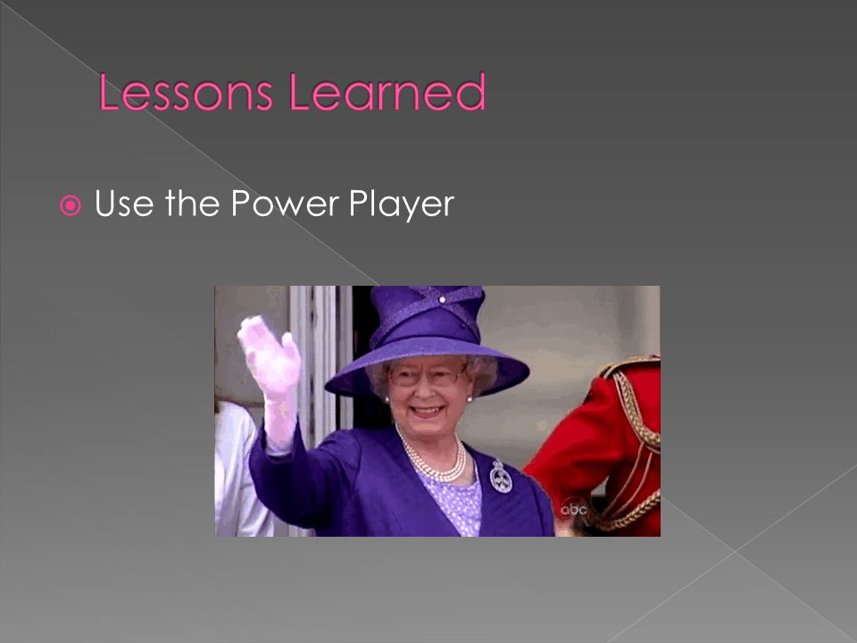 Lessons Learned Use the Power Player Nikki