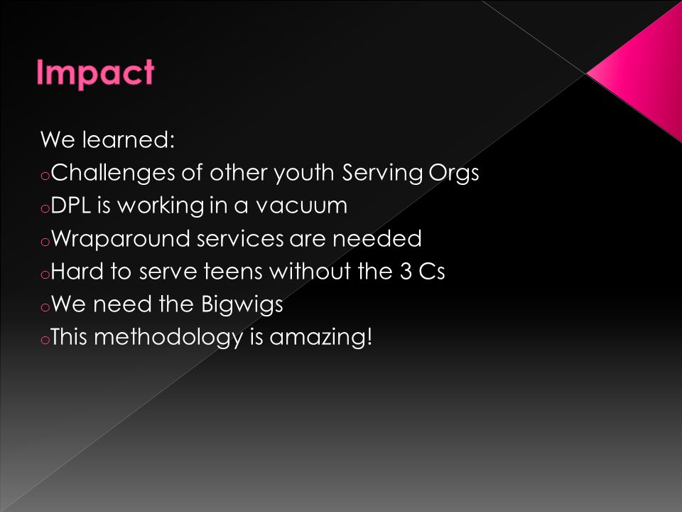Impact We learned: Challenges of other youth Serving Orgs