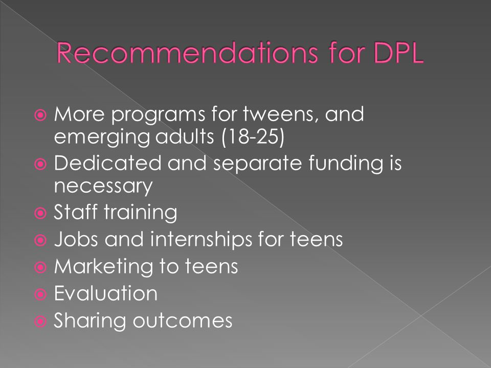 Recommendations for DPL