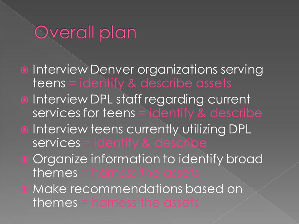 Overall plan Interview Denver organizations serving teens = identify & describe assets.