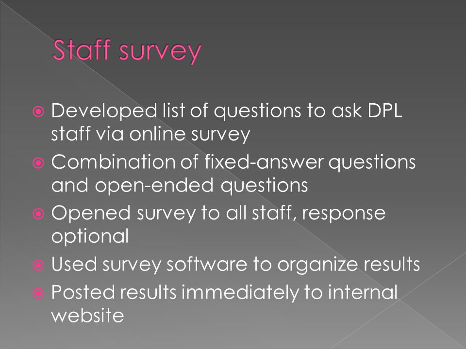 Staff survey Developed list of questions to ask DPL staff via online survey. Combination of fixed-answer questions and open-ended questions.