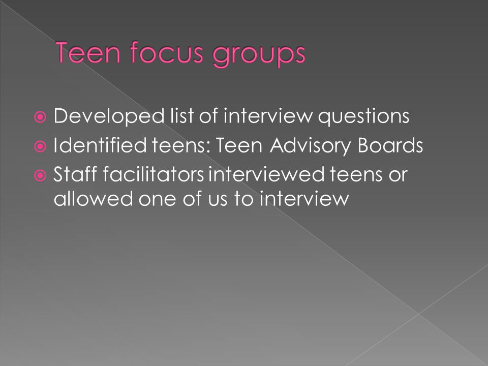 Teen focus groups Developed list of interview questions