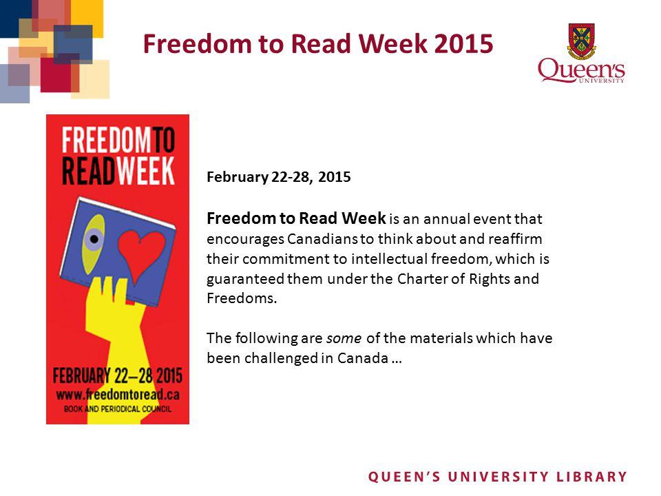 Freedom to Read Week 2015 February 22-28, 2015.