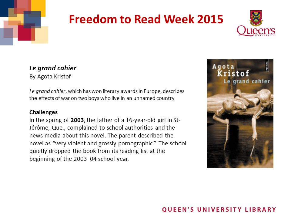 Freedom to Read Week 2015 Le grand cahier By Agota Kristof Challenges