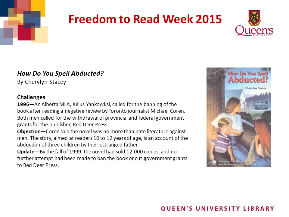 Freedom to Read Week 2015 How Do You Spell Abducted