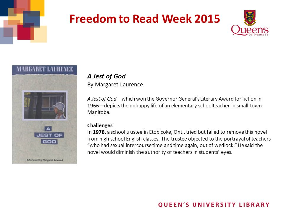 Freedom to Read Week 2015 A Jest of God By Margaret Laurence