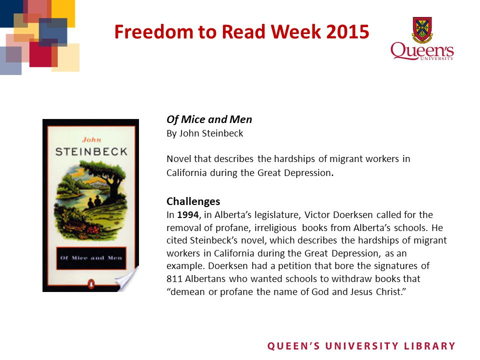 Freedom to Read Week 2015 Of Mice and Men Challenges By John Steinbeck