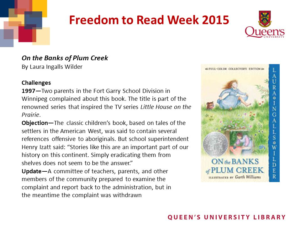 Freedom to Read Week 2015 On the Banks of Plum Creek