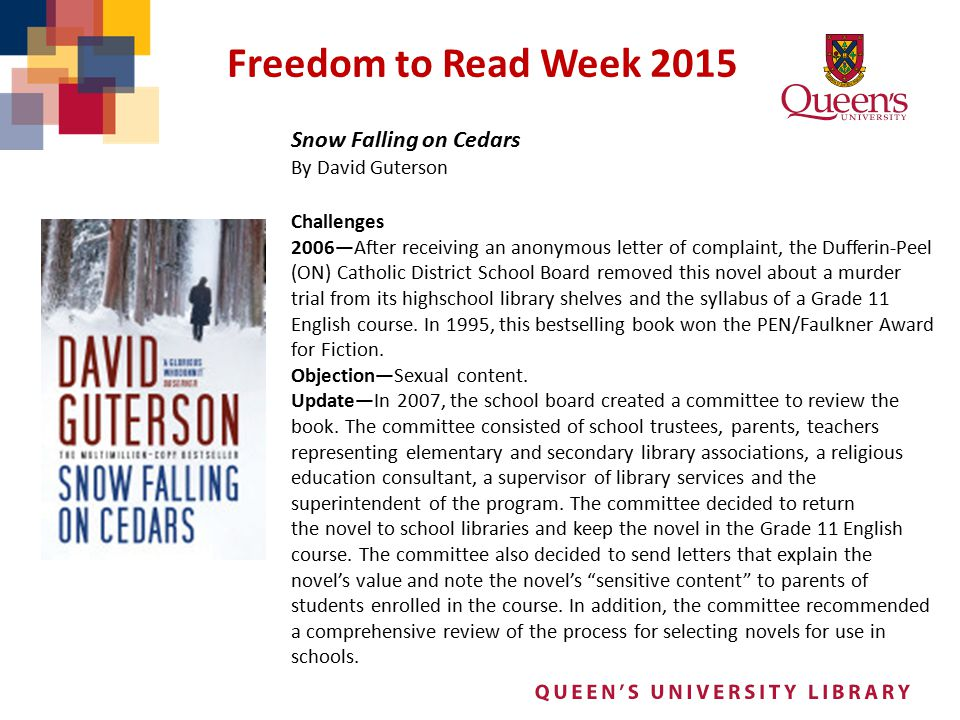 Freedom to Read Week 2015 Snow Falling on Cedars By David Guterson