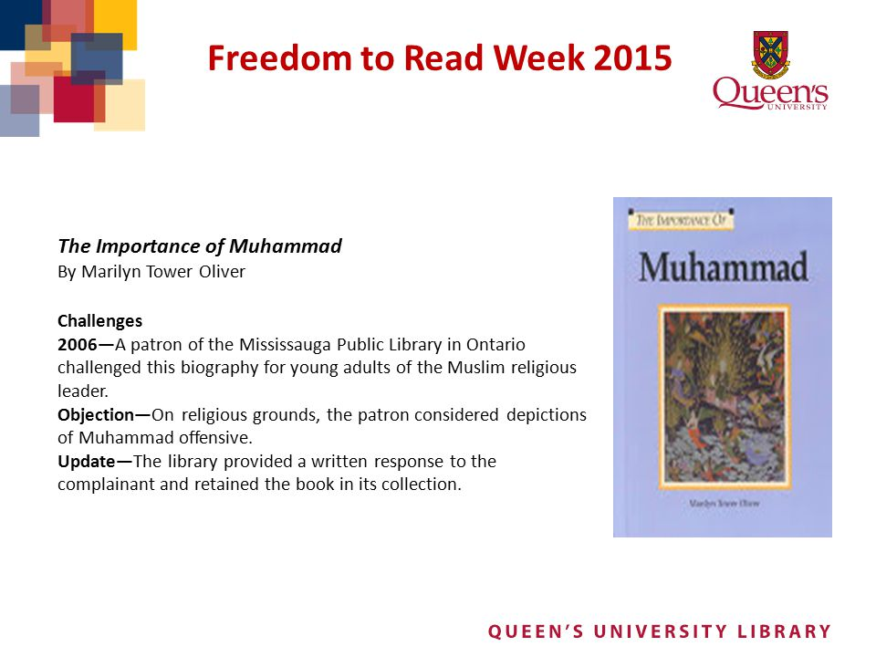 Freedom to Read Week 2015 The Importance of Muhammad Challenges