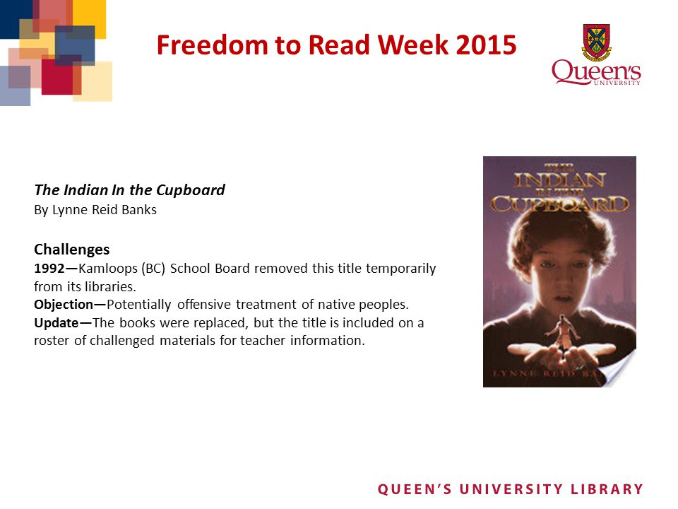 Freedom to Read Week 2015 The Indian In the Cupboard Challenges