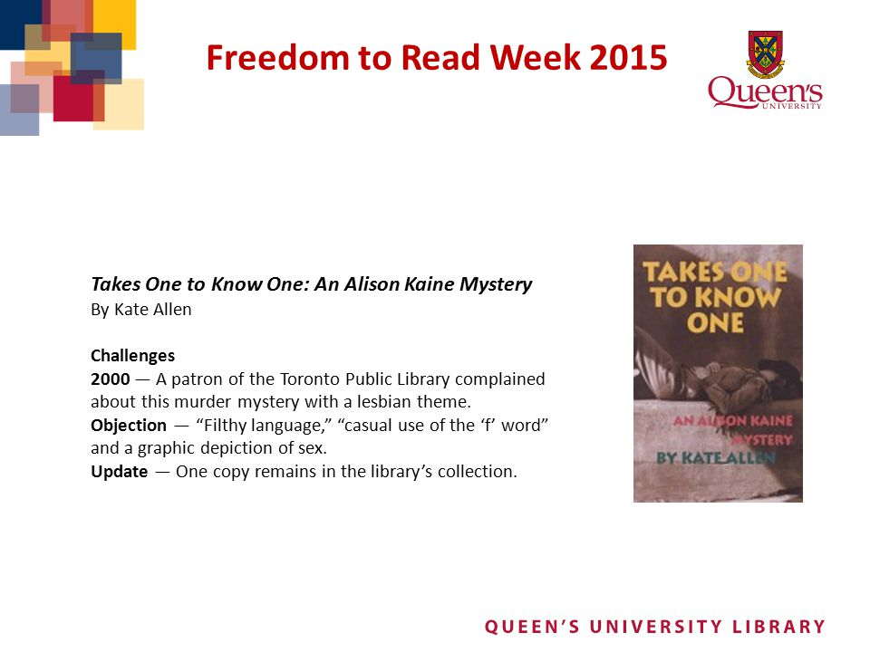 Freedom to Read Week 2015 Takes One to Know One: An Alison Kaine Mystery. By Kate Allen. Challenges.